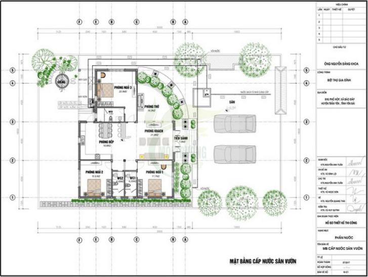 Mặt bằng hệ thống cấp nước sân vườn và tầng 1